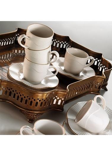 Kütahya Porselen Milena Krem Altın File Çay Fincan Takımı Renkli